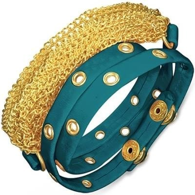 pulsera de piel ajustable diseño cadena en dorado azul 0154