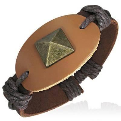 pulsera de piel ajustable diseño escudo en cafe 0104