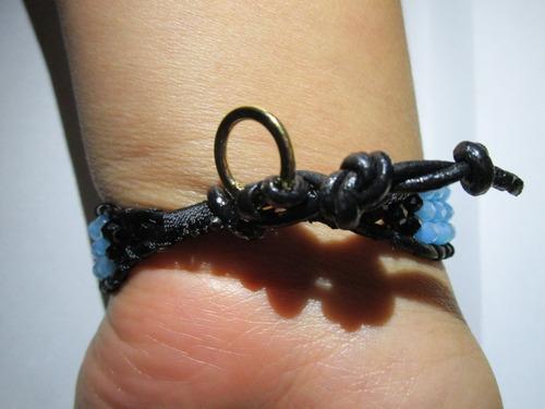 pulsera de piel - lapislázuli, hematita, chapa de oro 14kt
