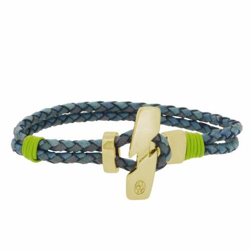 pulsera de piel para hombre vintage azul/verde