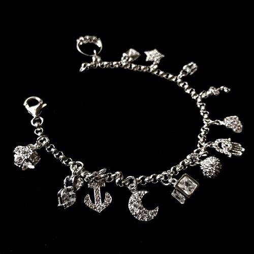 599f733919 ... pulsera de plata 925 13 dijes varios cruz corazon llave luna
