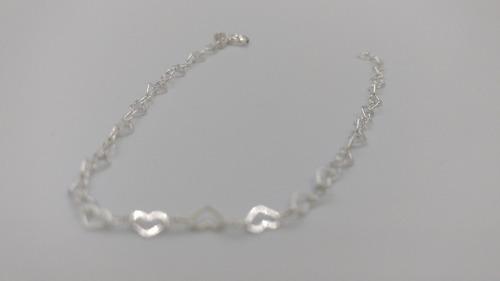 pulsera de plata fina .925 corazones mujer brillante