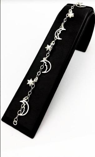 pulsera de plata fina 925 dama lunas y estrellas mujer
