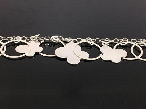 pulsera de plata ley .925 circulos 3 mariposas ad6039 oferta