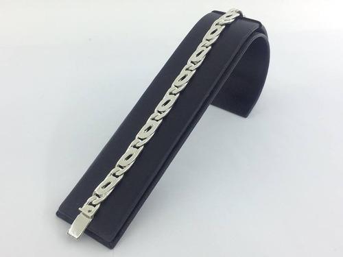 pulsera de plata ley 925 tejido clip 20grs21cmx6mm pul29