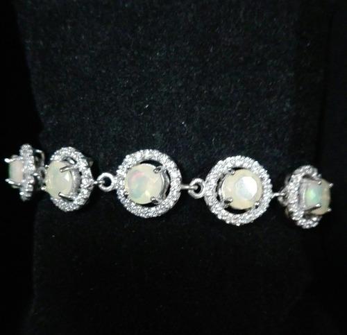 pulsera de plata opalos naturales y zirconias