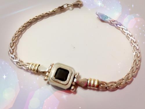 pulsera de plata y oro con cubic para mama
