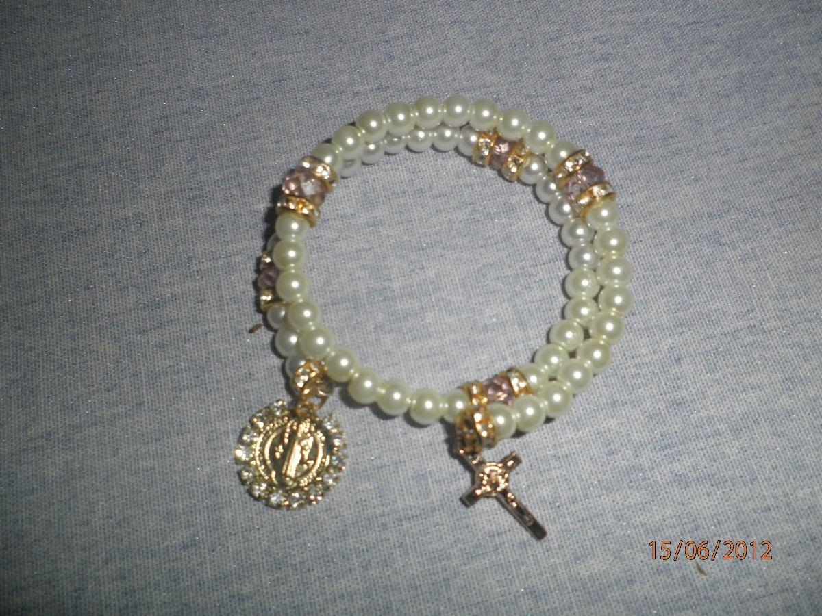 Pulsera de rosario con perla piedra rondel y med sn benito - Como limpiar un rosario de plata ...