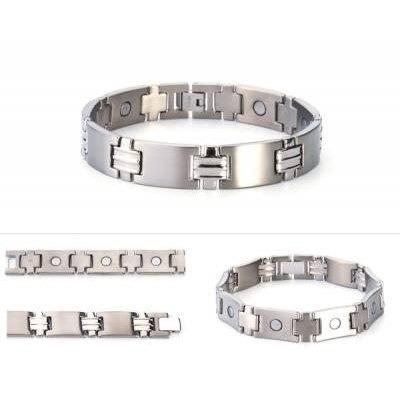 pulsera de titanio diseño eslabon cruz con magnetos