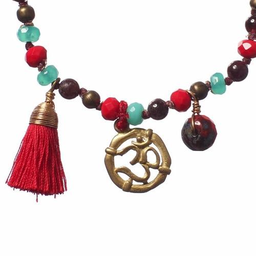 pulsera dije bronce om joyería budista tibetana yoga