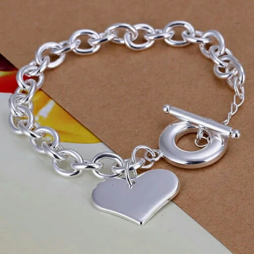 pulsera dije corazon plata 925 (no vintage hippie shic boho)