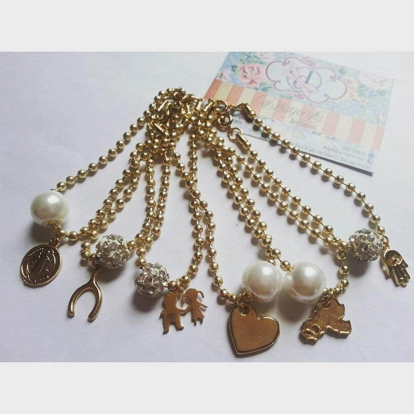 Pulsera dije perla cadena militar ba o de oro bisuteria - Bano de oro precio ...