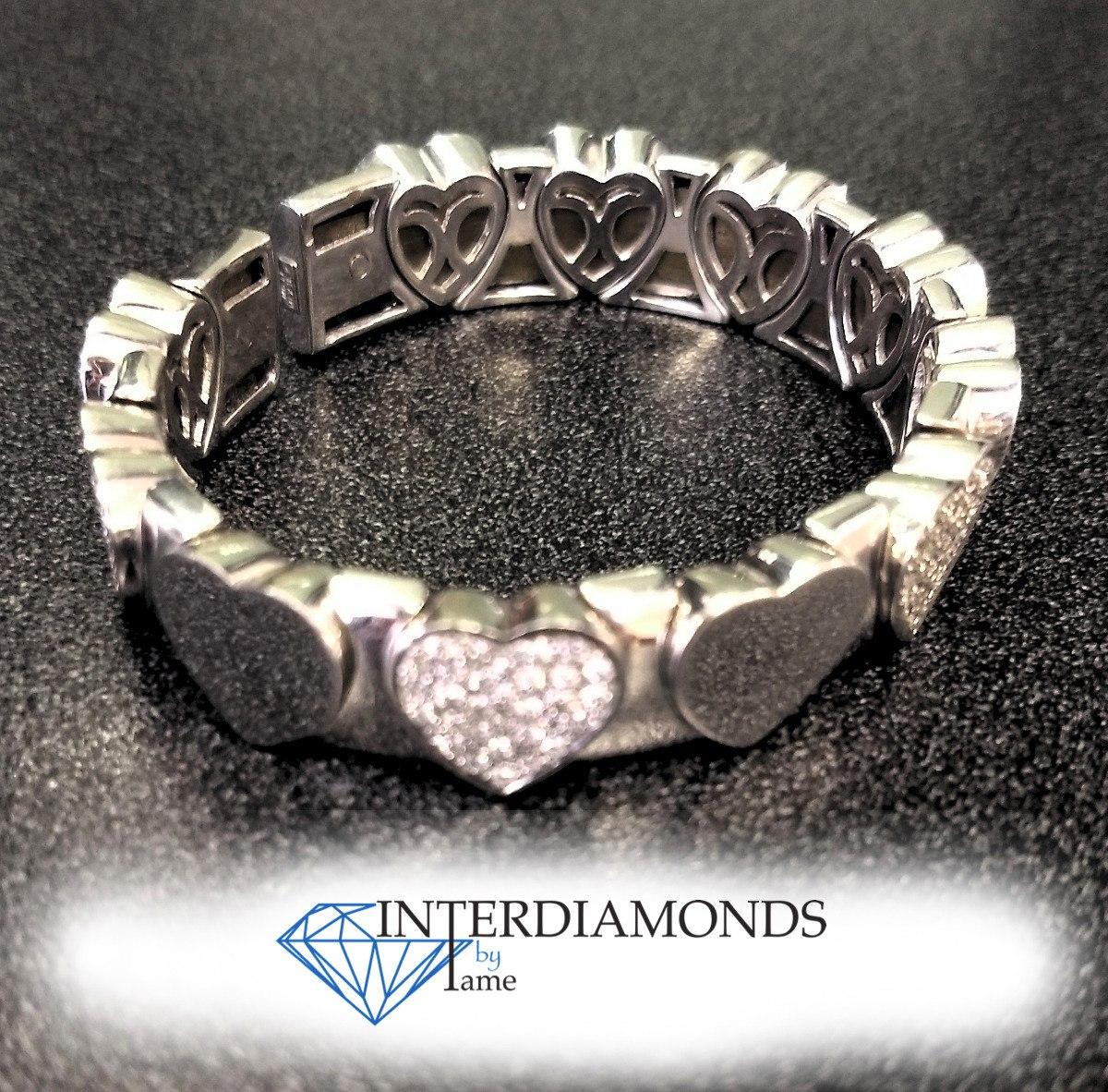 2b8a961ba341 pulsera en oro blanco de 18kt. corazones con diamantes. Cargando zoom.