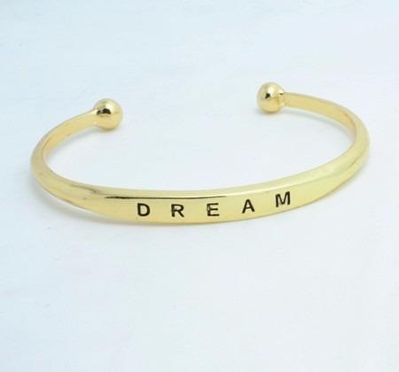 pulsera enchapada cromada love dream hope palabra love
