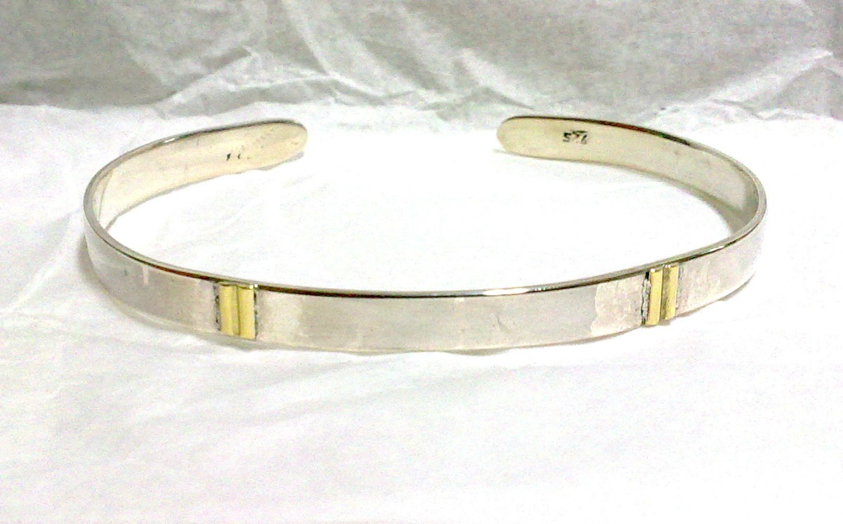 pulsera esclava abierta en plata 925 y oro 18k