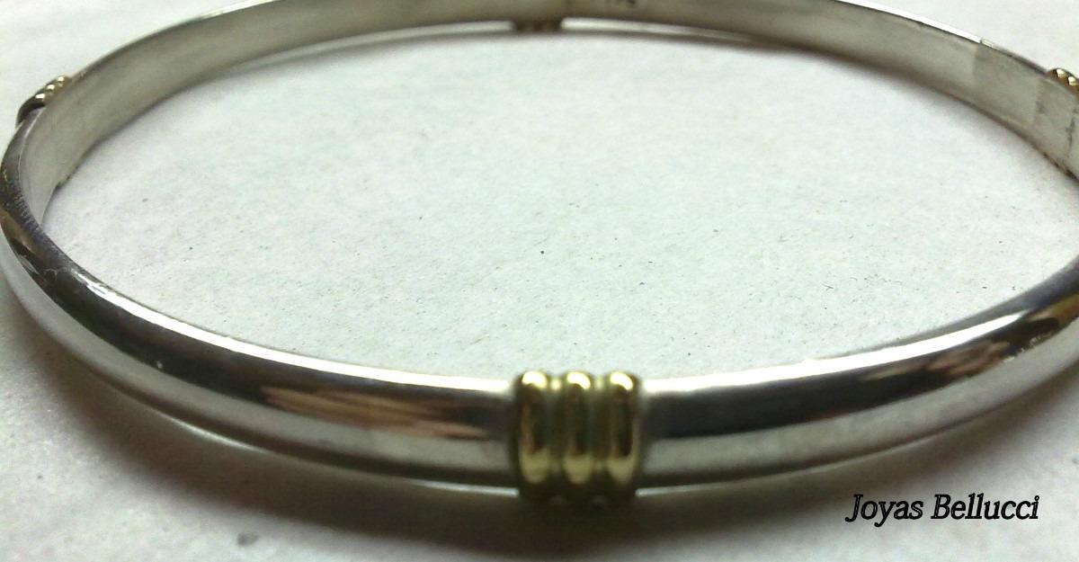 506d224e848b pulsera esclava aniversario 5mm en plata 925 y oro 18k. Cargando zoom.