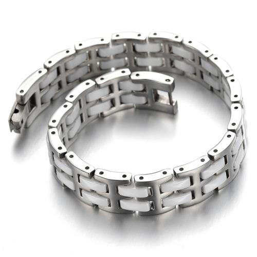 pulsera esclava de acero de tungsteno y ceramica