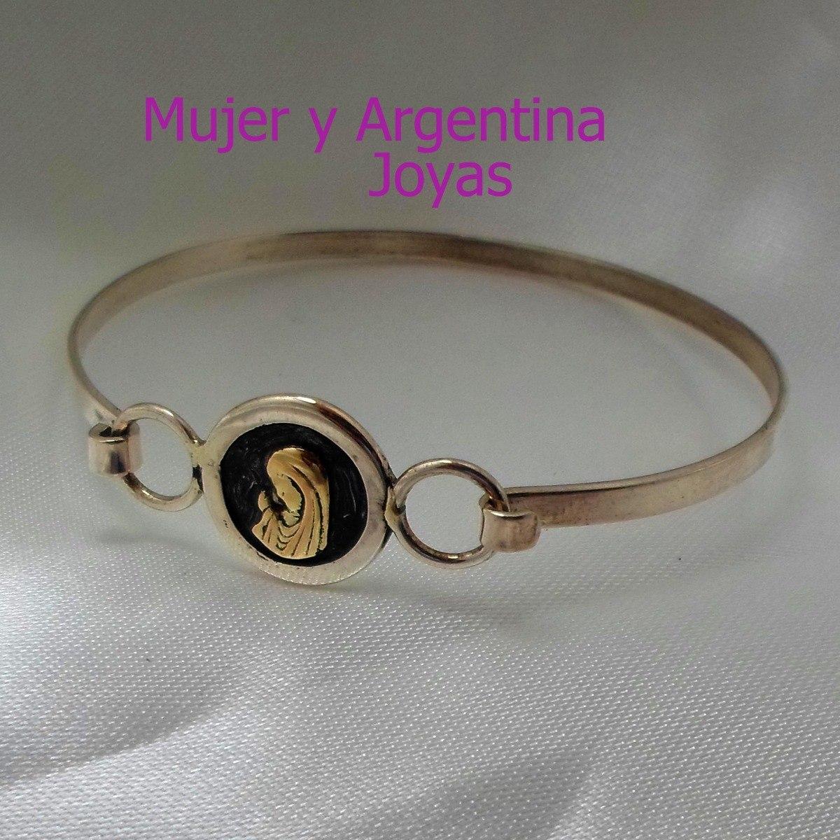 2abb8fee1631 pulsera esclava plata y oro con virgen niña. peso 7.2 grs. Cargando zoom.