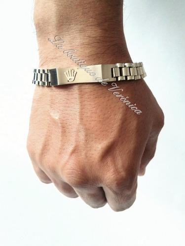 pulsera esclava rolex placa corona acero inoxidable 316 l