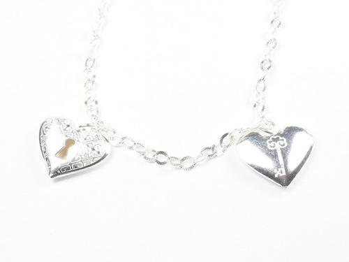 pulsera eslabon plata 925 c/ dijes corazon
