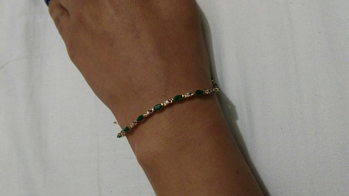 pulsera esmeraldas y diamantes 14k!!