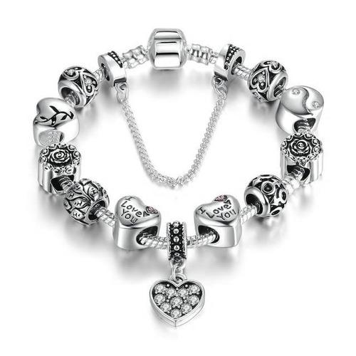 pulsera estilo pandora charms plata s925 te amo pa1502
