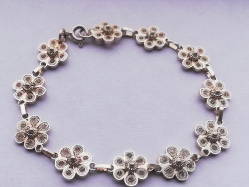 pulsera filigrana flor en plata ley 975