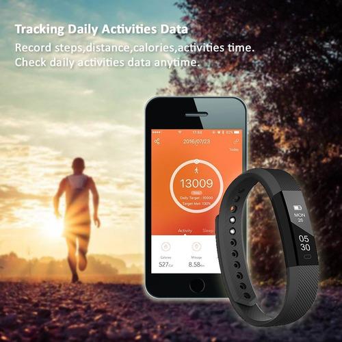 pulsera fitness. pulsaciones, calorías, pasos, reloj. garant