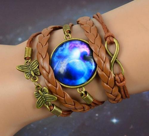 pulsera game galaxia galaxy cuero unisex mujer moda regalo