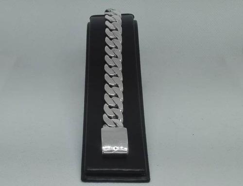 pulsera gruesa plata ley 925 tejido cubano pg09