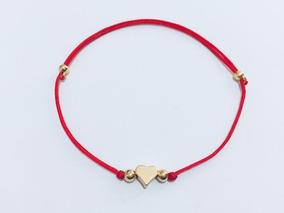 22c72f25bd92 Pulsera Hilo Rojo Corazón Promesa Amor Pareja Baño De Oro