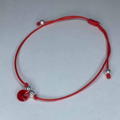 pulsera hilo rojo protección cristal swarovski element plata