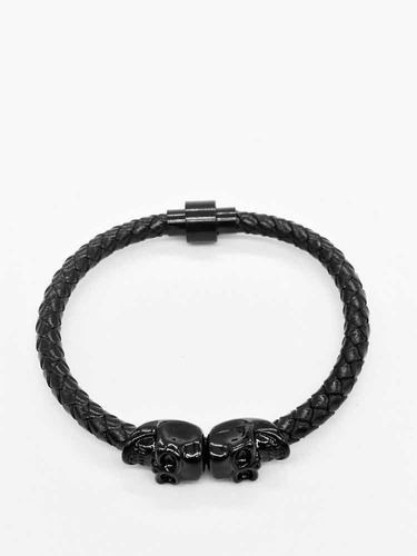 pulsera hombre calavera skull piel cuero negro brazalete