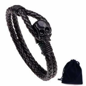 40194423bc40 Pulsera Hombre De Piel Craneo Negro Skull Calavera Cráneo