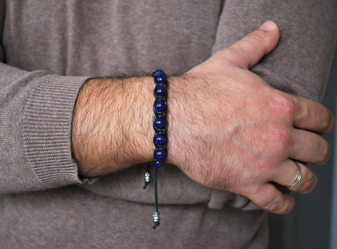 6eeefa3188b9 pulsera hombre lapislázuli natural de 8mm extensión a medida. Cargando zoom.