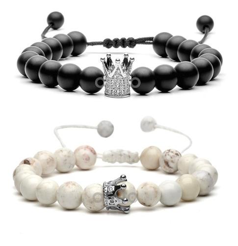 pulsera hombre mujer pulseras yin yang pulseras parejas pulseras amigos pulseras distancia piedras naturales dije corona
