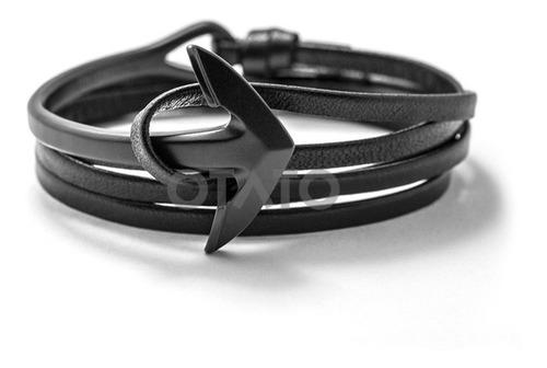pulsera hombre - pulsera cuero genuino - dije acero modelo ancla - brazalete hombre - pulsera ancla - pulseras hombre
