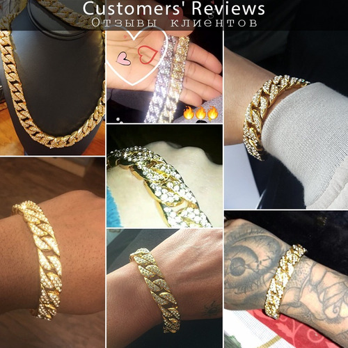 pulsera iced out diamantada oro laminado hip hop 14mm moda