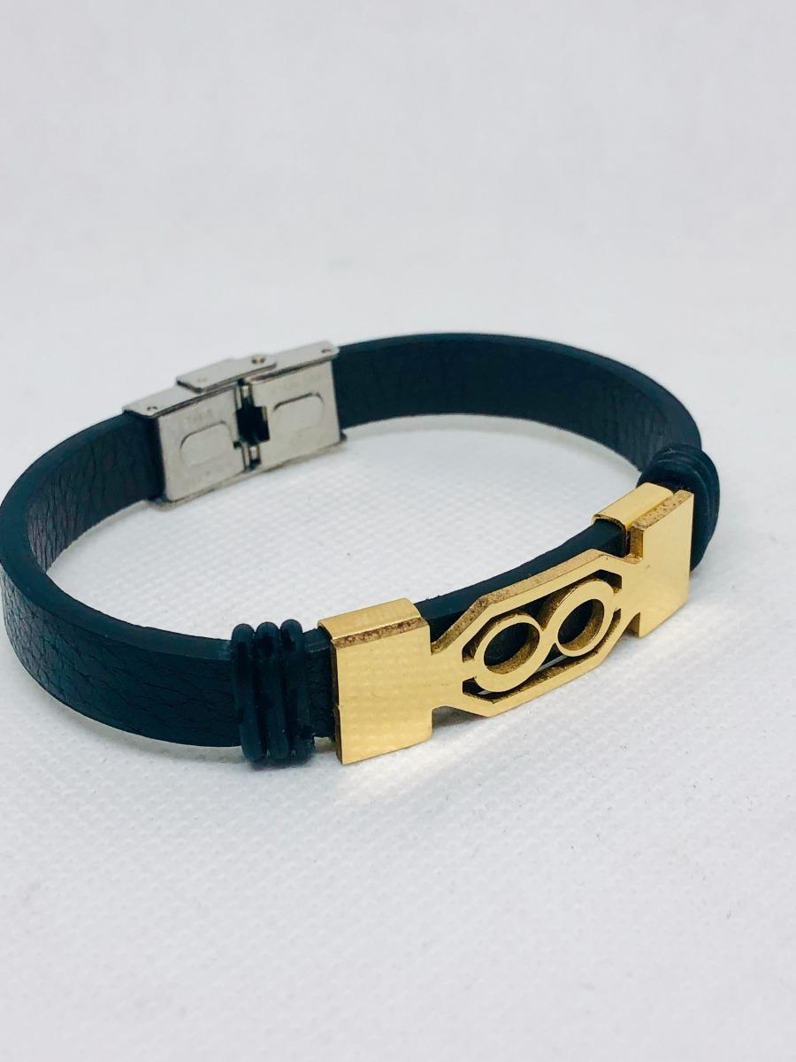 b54a8b4e71c7 pulsera infinito acero inoxidable negro cuero 21 cm dorado. Cargando zoom.