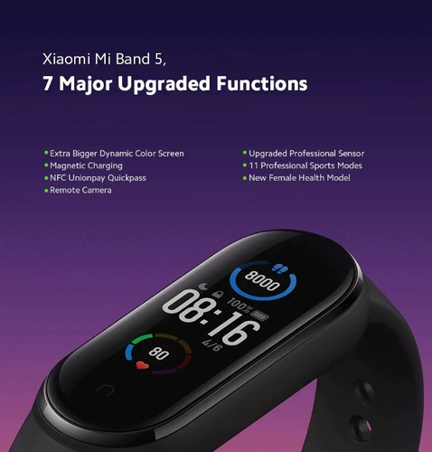 pulsera inteligente xiaomi smart mi band 5 original + tienda