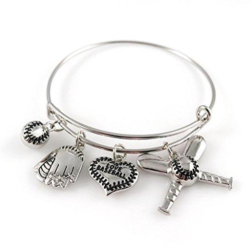 Pulsera de brazalete de b isbol joyas de plata ajustable for Joyas banadas en rodio