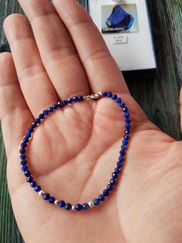 pulsera lapislázuli de 1ra calidad plata 925,  envio gratis