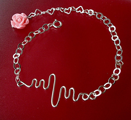 pulsera latido de corazón amor infinito rosa ajustable plata