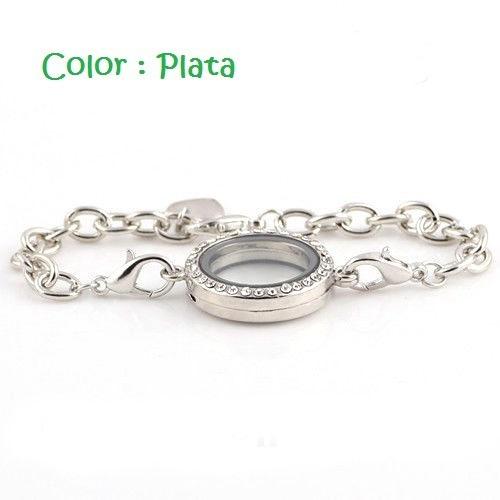 pulsera locket plata y brillos recuerdos vivientes + 10 rv