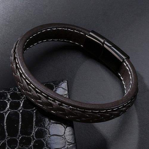 pulsera lujo hombre brazalete piel y acero inox envío gratis