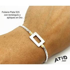 Pulsera Maciza Con Rectángulo, Plata 925 Y Oro. Con Garantía