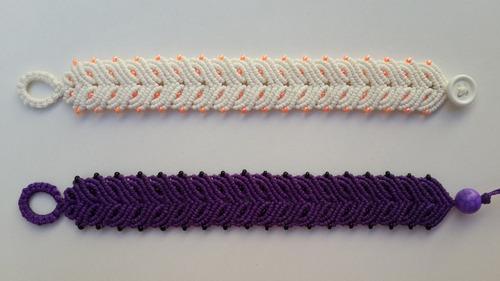 pulsera macramé de 6 hilos encerados con mostacillas