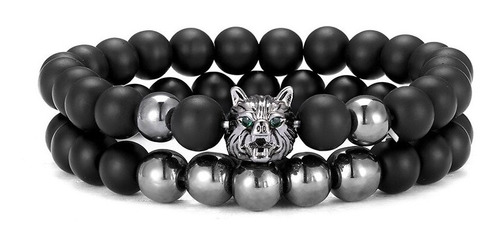 pulsera manilla brazalete piedras naturales lobo para hombre