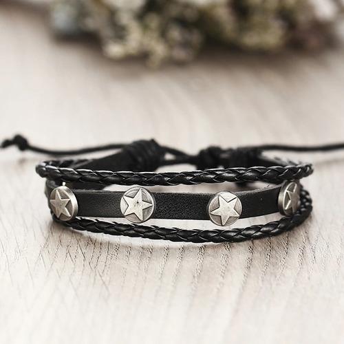 pulsera manilla brazalete x 5 en cuero pluma hombre mujer