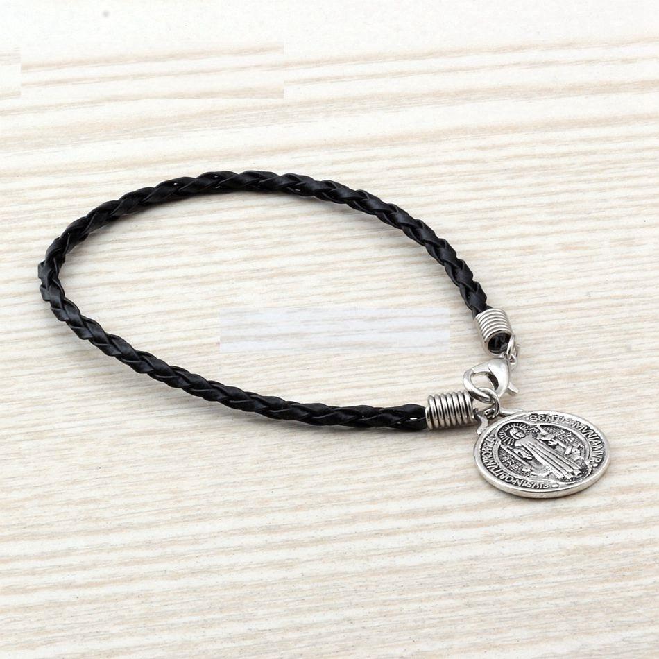 11e8cd1c88c5 pulsera manilla cuero medalla san benito para hombre y mujer. Cargando zoom.